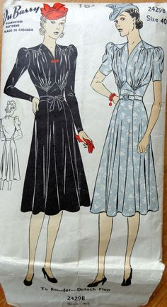 1930s DuBarry 2429B Sewing Pattern Bust 40 by PatternMatters