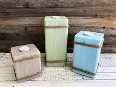 Candle holder set, Beach house decor, Rustic beach decor, Distressed candle holders, Tea light holder wood, Wood tea light candle holder by WoobiesCorner on Etsy
