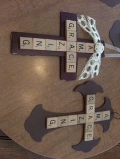 Scrabble crosses, DIY gifts, Christian gift, Christian craft.                                                                                                                                                                                 More
