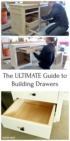 This is the ULTIMATE complete guide to building drawers for furniture projects. - This is the ULTIMATE complete guide to building drawers for furniture projects. No fancy joinery is - Diy Furniture Decor, Diy Furniture Plans Wood Projects, Woodworking Furniture Plans, Building Furniture, Woodworking Projects Diy, Furniture Makeover, Furniture Design, Garden Furniture, Diy Wood Furniture Projects