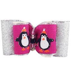 "Holiday Christmas Dog Bows Penguins 7/8"""