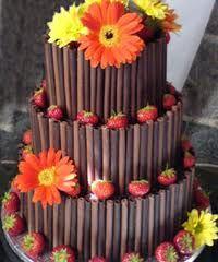 Gerbers on a chocolate cigarello cake