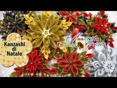 Update Creazioni Dic. 2014 | Kanzashi di Natale | Fiori di stoffa - YouTube