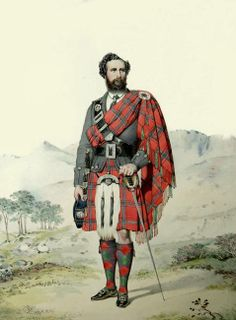 Archibald F. MacDonald, watercolour portrait by Kenneth MacLeay, published in 'Highlanders of Scotland' The tartan is MacDonald Keppoch. Scottish Clans, Scottish Tartans, Tartan Fabric, Tartan Plaid, Glencoe Scotland, Glasgow Scotland, Clan Macdonald, Tartan Clothing, Scotland History