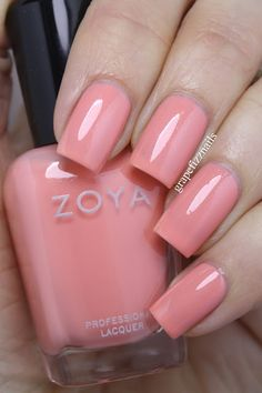 ZOYA Petals Collection Spring 2016 - This color is 'Tulip' by ZOYA - A lovely salmon pink with a hint of sheen. It would look great with a tan. - from Grape Fizz Nails