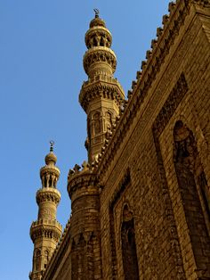 Minarets of Rifa'i Mosque in Cairo. The details on minarets impart almost a fantasy look to a city.