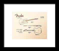 1951 FENDER Guitar US Patent graphite pencil sketched art from the art studio of Scott D Van Osdol available at fineartsamerica.com