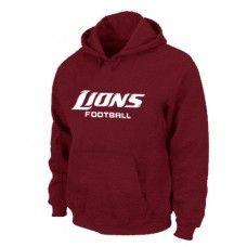 Wholesale Men Detroit Lions Authentic Font Pullover Hoodie - Red_Detroit Lions Pullover Hoodie