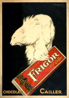 Frigor Chocolat by the Swiss chocolatier Cailler Chocolat. A bear holds a bar of Frigor Chocolate in this 1929 lithograph. Illustrated by L. Cappiello for Cailler Chocolate.
