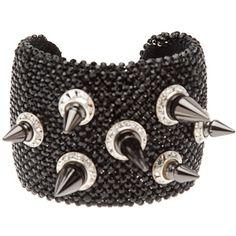 Michael Schmidt Swarovski spike cuff (38,590 MXN) ❤ liked on Polyvore featuring jewelry, bracelets, accessories, bracelets / bangles / cuffs, black, hinged cuff bracelet, swarovski crystal bangle bracelet, swarovski crystal bracelet, black spike bracelet and hinged bracelet