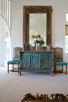 Indian dowry chest painted in blues and greens