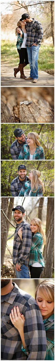 Outdoor Engagement Photo Ideas & Poses in the Spring - Plaid Shirts - Natural Woods - Cowboy Boots - Billings, MT Engagement & Wedding Photographer