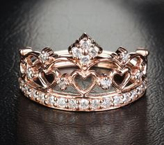 Heart Crown .57ct H SI Diamonds Solid 14k Rose Gold Engagement Wedding Band Ring on Etsy, 747,00 $