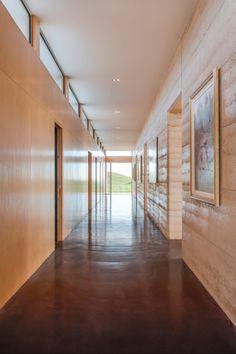 Hallway. 'Solterra' in the spectacular high country of Victoria, Australia. Rammed earth and ironbark