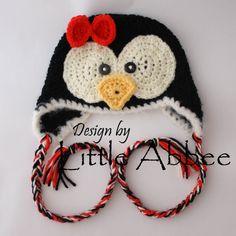 CROCHET PATTERN Penguin Earflap Hat in 6 different by littleabbee, $3.99