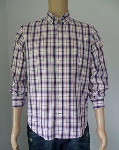 Gazman Men's Shirt Size M Slim Fit With Mixed Plaid & Oxford Collar