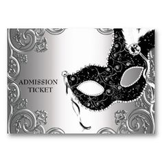 I like the idea of admission tickets... Silver Black Masquerade Party Admission Tickets Business Cards