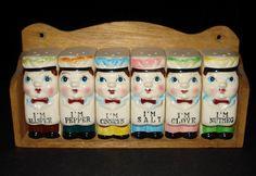 VTG 1950s Baker Chef Boy Ceramic SPICE SHAKER SET Wall Rack NAPCO LEFTON JAPAN