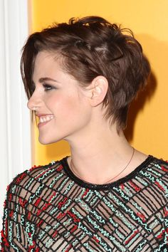 Stewart wore her short, brunette hairstyle messy and mussed-up for the premiere of [i]Camp X-Ray[/i] in New York.