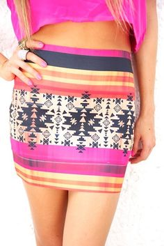dont fight the tribal trend! fun colors fun print. tribal skirt in fuchsia.