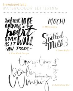 Design Trend: Watercolor Lettering - easy to do with a waterbrush,