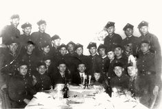 Chojnice, Poland, 1939, Jacob Kazhpicki at a Passover Seder for Jewish soldiers. The Jewish soldiers served in the Polish army