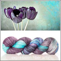 Expression Fiber Arts, Inc. - FADED TULIPS SUPERWASH MERINO SILK PEARLESCENT WORSTED yarn