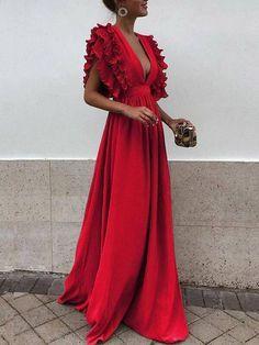 Grey Chiffon V Neck A Line Long Bridesmaid Prom Dresses DPB3107 #prom #promdress #promdresses Sexy Dresses, Short Sleeve Prom Dresses, Cheap Bridesmaid Dresses, Maxi Dress With Sleeves, The Dress, Nice Dresses, Evening Dresses, Awesome Dresses, Dress Red