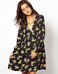 Asos Smock Dress With V-neck In Floral Print on shopstyle.co.uk