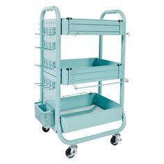 Recollections Gramercy Cart, Teal – 3 Tier Rolling Cart with 10 Storage Accessories for Craft Storage and