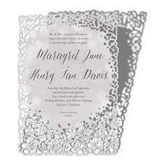 Floating Jasmine - Signature Laser Cut Wedding Invitations - Alexis Mattox Design - Nude - Neutral : Front