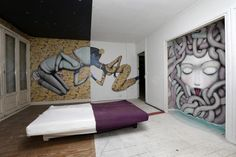 "A bedroom painted by Australian street artist Vexta is seen at the street art project tower ""Paris Tour 13"" in Paris"