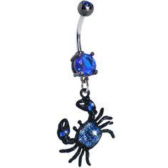Blue Gem Crab Dangle Belly Ring | Body Candy Body Jewelry #bodycandy #piercings #bellyring