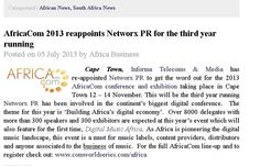 AfricaCom 2013 reappoints Networx PR for the third year running