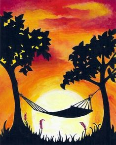 40 Acrylic Painting Ideas For Beginners Painting & Drawing, Drip Painting, Watercolor Paintings, Simple Acrylic Paintings, Acrylic Painting Tutorials, Acrylic Art, Wine And Canvas, Silhouette Painting, Summer Painting