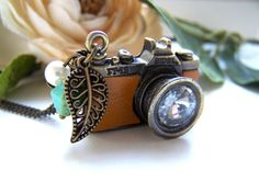 Tan Leather Camera Necklace, $23