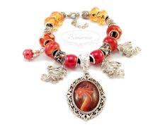 Modular bracelet with dragons Pandora Charms, Dragons, Handmade Jewelry, Pendants, Charmed, Bracelets, Earrings, Ear Rings, Stud Earrings