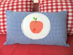 Red Apple Appliqued on NavyWhite Checked  Fabric Throw by sesideco, $40.00