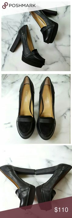 """💕SALE💕Nine West Unmixed Loafer Pump Who says professional has to be boring? These great pumps are perfect WITH pants, skirts or suits. Genuine leather upper with suede toe and platform, leather lining, padded footbed and manmade sole. Platform 1"""", heel 4.5"""".  Width 3"""", length 10"""". Worn once, EUC. Nine West Shoes Heels"""