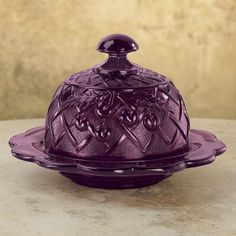 Amethyst Purple Cherry Finial Domed Butter Dish Vintage Depression Style NEW Antique Dishes, Antique Glassware, Vintage Dishes, Vintage Kitchen, Purple Kitchen, Purple Home, All Things Purple, Purple Stuff, Fenton Glass