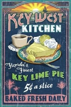Key West, Florida - Key Lime Pie Vintage Sign - Lantern Press Poster