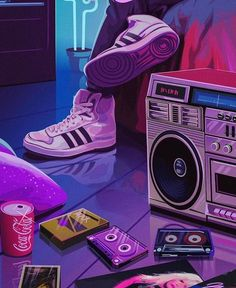 𝙃 𝙄 𝙏 𝙊 𝙋 𝙎 🏀✨ What's your favorite retro fashion trend? Art by 💜 Music Aesthetic, Purple Aesthetic, Retro Aesthetic, Aesthetic Anime, Ps Wallpaper, Aesthetic Iphone Wallpaper, Aesthetic Wallpapers, Eclectic Wallpaper, New Retro Wave