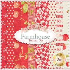 "Farmhouse 10 FQ Set - Tomato Set by Fig Tree Quilts for Moda Fabrics: Farmhouse is a collection by Fig Tree Quilts for Moda Fabrics. This set contains 10 fat quarters, each measuring approximately 18""x21"""