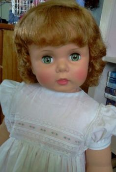 """1959 Baby Face Penny Play PAL Lovely Hair 32"""" Ideal Doll Vintage Dress 