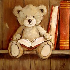 Teddy Bear with Glasses Reading on a Bookshelf: Peinture Ourson étagère PE. Teddy Bear Pictures, Bear Images, Photo Ours, Art D'ours, Ted Bear, Bear Paintings, Love Bears All Things, Bear Illustration, Boyds Bears