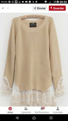 add Lace to Sweaters. I AM going to do this to a sweater.add Lace to Sweaters. I AM going to do this to a sweater. With the most beautiful lace. Diy Fashion, Ideias Fashion, Autumn Fashion, Womens Fashion, Street Fashion, Fashion Ideas, Fashion Sewing, Fashion Tips, Fashion Trends