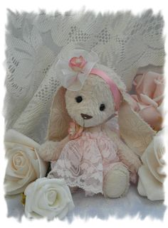 Petal sween hand sewn vintage style baby bunny. by forrestfairy