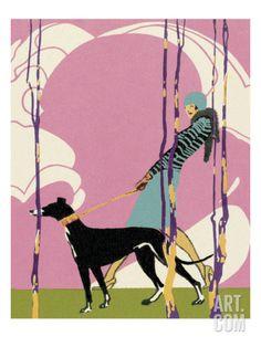 Woman Walking Greyhound Dog Art Print by Pop Ink - CSA Images at Art.com
