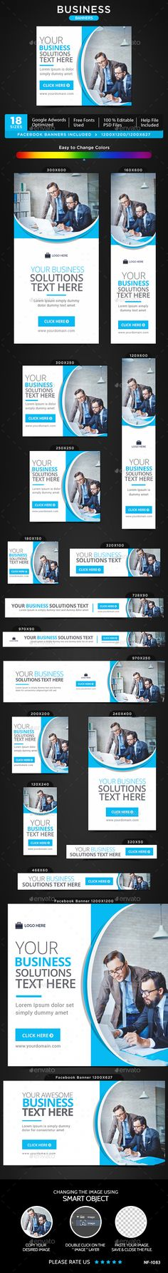 Business Banners — Photoshop PSD #Google adwords banner #social media • Available here → https://graphicriver.net/item/business-banners/15009631?ref=pxcr