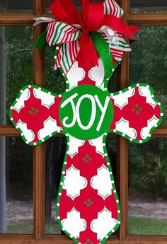 Joy Wooden Cross Door Hanger / Wooden Cross by SouthernWhimsyStyle Christmas Wood, Christmas Cross, Christmas Signs, Christmas Projects, Christmas Ideas, Cross Door Hangers, Burlap Door Hangers, Christmas Door Decorations, Decorating With Christmas Lights